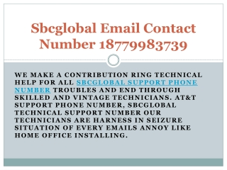 Sbcglobal Email Contact Number 18779983739