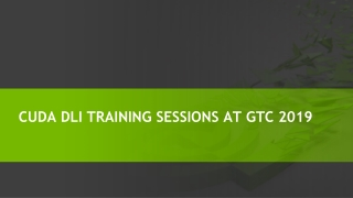 CUDA DLI Training Courses at GTC 2019