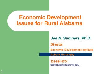 Economic Development Issues for Rural Alabama