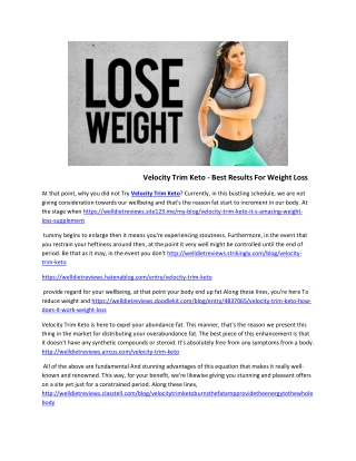 Velocity Trim Keto - Natural Supplement For Fat Burning