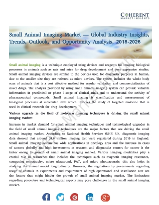 Small Animal Imaging Market — Trends, Outlook, and Opportunity Analysis, 2018-2026