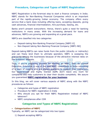 Know about the Process and Types of NBFC Registration