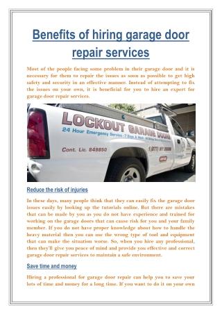 Benefits of hiring garage door repair services