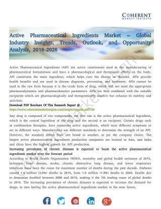 Active Pharmaceutical Ingredients Market – Global Industry Insights, Trends, Outlook, and Opportunity Analysis, 2018-202