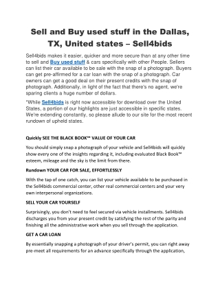 Sell and Buy used stuff in the Dallas, TX, United States – Sell4bids