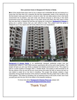 Buy a premium home in Designarch E Homes in Noida