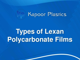 Types of Lexan Polycarbonate Films