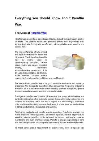 Everything You Should Know About Paraffin Wax