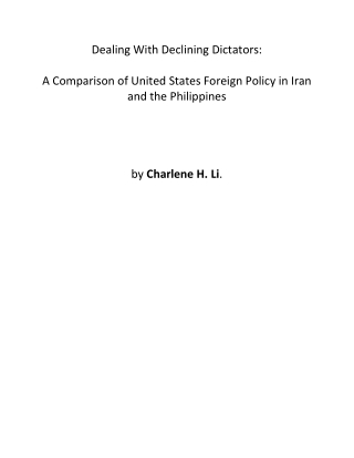 Dealing With Declining Dictators: A Comparison Of US Foreign Policy In Iran And The Philippines