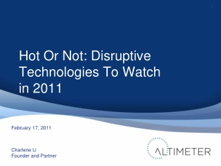 Disruptive Technology Outlook for 2011