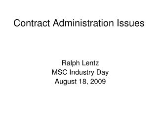 Contract Administration Issues