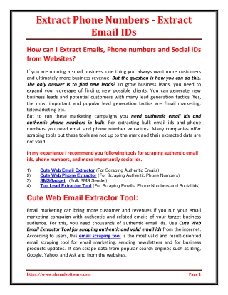 Extract Phone Numbers - Extract Email IDs
