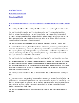 The Lost Ways Book Reviews-The Lost Ways Book Bonuses-The Lost Ways Saving Our Forefathers Skills