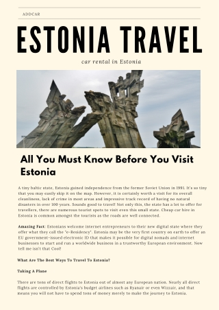 addCar: All You Must Know Before You Visit Estonia!