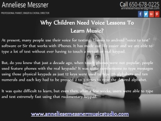 Why Children Need Voice Lessons To Learn Music