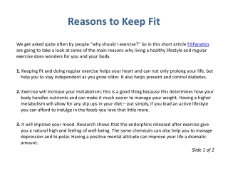 Reasons to Keep Fit