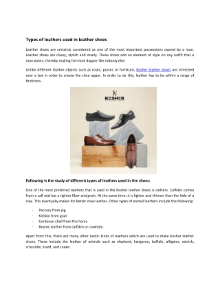 Types of leathers used in leather shoes