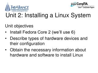 Unit 2: Installing a Linux System