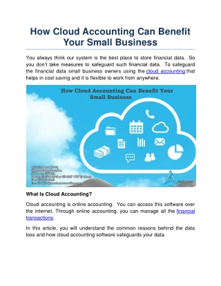 How Cloud Accounting Can Benefit Your Small Business