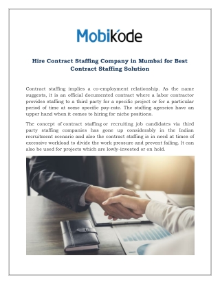 Hire Contract Staffing Company in Mumbai for Best Contract Staffing Solution