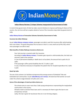 Indian Money Reviews 2 Unique Schemes Inaugurated by Government of India