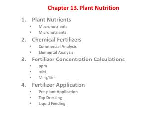 Chapter 13 . Plant Nutrition