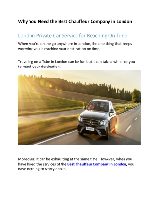 London Private Car Service for Reaching On Time