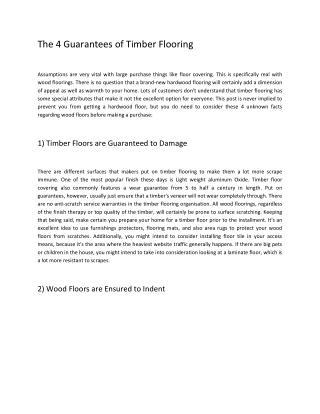 The 4 Guarantees of Timber Flooring