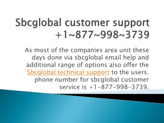 Sbcglobal customer support  1~877~998~3739