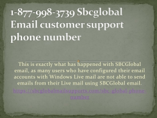 1-877-998-3739 Sbcglobal Email customer support phone number