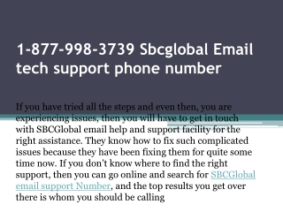 1-877-998-3739 Sbcglobal Email tech support phone number