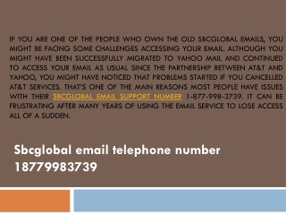 Sbcglobal email telephone number 18779983739