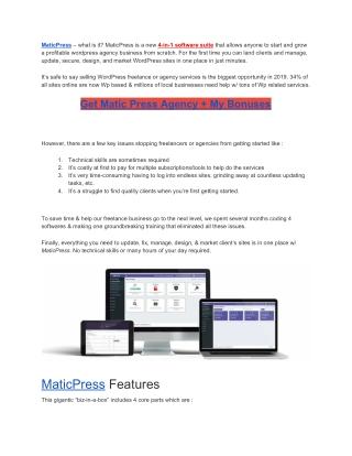 MaticPress Agency Review   Huge Bonus   Price   OTO   Jv   Demo