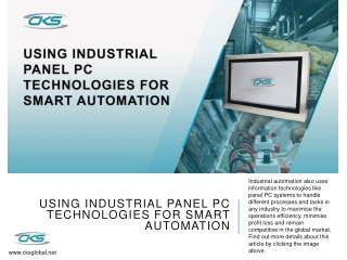 Using Industrial Panel PC Technologies for Smart Automation