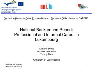 National Background Report: Professional and Informal Carers in Luxembourg