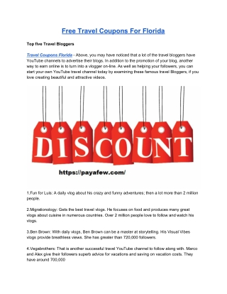 Free Travel Coupons For Florida