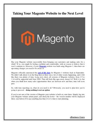 Taking Your Magento Website to the Next Level | eBusiness Guru