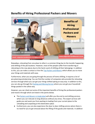 Ultimate Benefits of Top Packers and Movers in Hyderabad