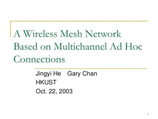 A Wireless Mesh Network Based on Multichannel Ad Hoc Connections