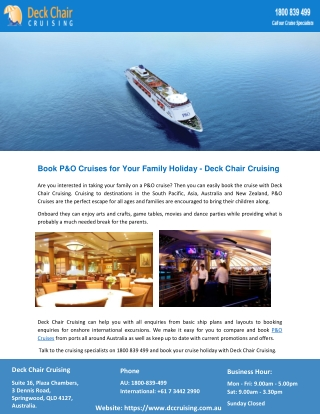Book P&O Cruises for Your Family Holiday - Deck Chair Cruising
