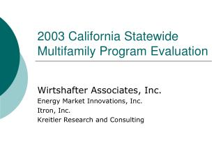2003 California Statewide Multifamily Program Evaluation