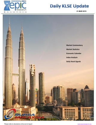 Epic Research Malaysia Daily KLSE Report 22 March 2019