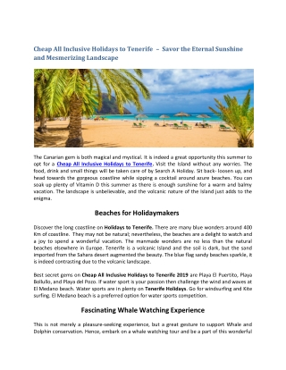 Cheap All Inclusive Holidays to Tenerife   Tenerife Holidays