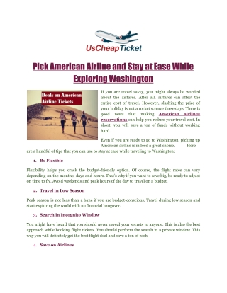 Pick American Airline and Stay at Ease While Exploring Washington