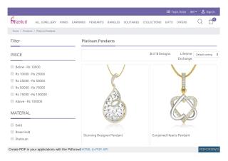 Buy Platinum Pendant Online - Pendant design
