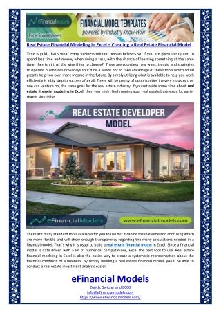 Real Estate Financial Modeling in Excel – Creating a Real Estate Financial Model