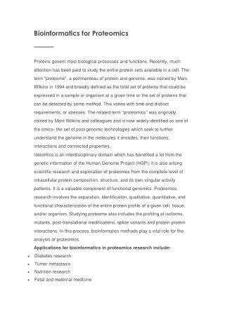 bioinformatics proteomics