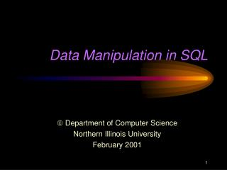 Data Manipulation in SQL