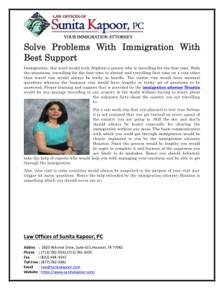Solve Problems With Immigration With Best Support