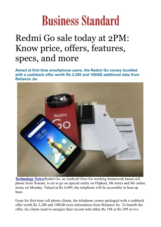 Redmi Go sale today at 2PM: Know price, offers, features, specs, and more